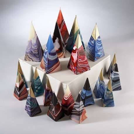 Bougie Decorative Artisanale Pyramide Marbree